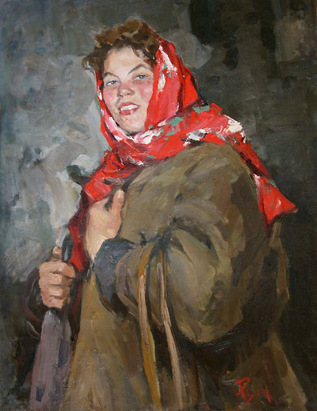 Portrait of young collective farmer - Lev Russov