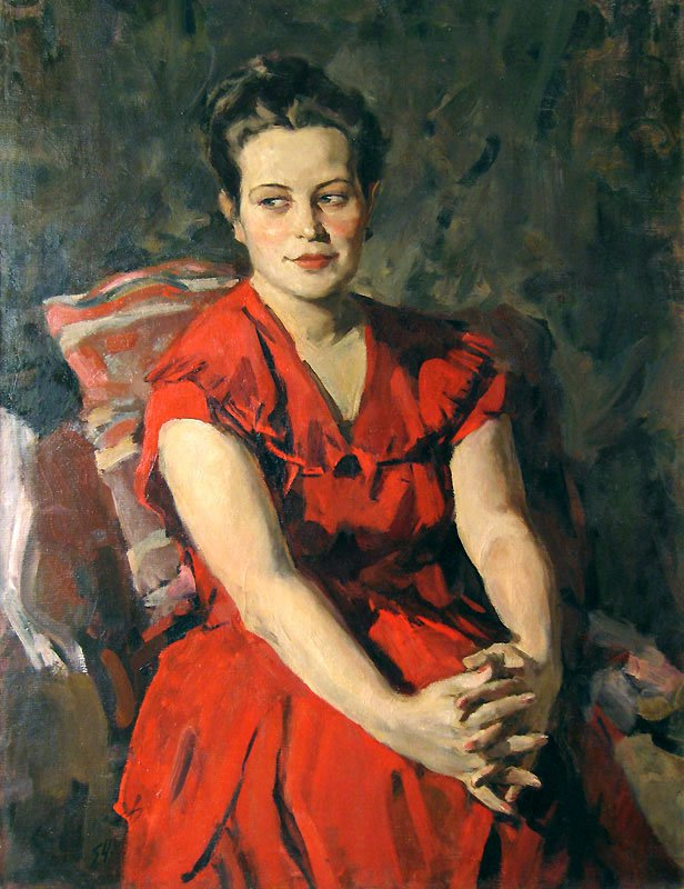 Portrait of Young Women in Red - Lev Russov