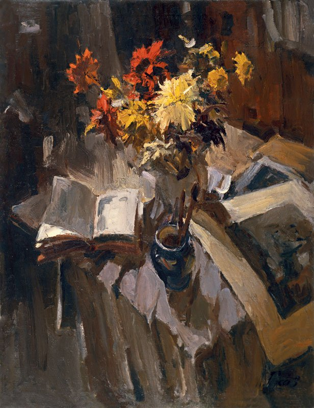Still Life with Bouquet - Lev Russov