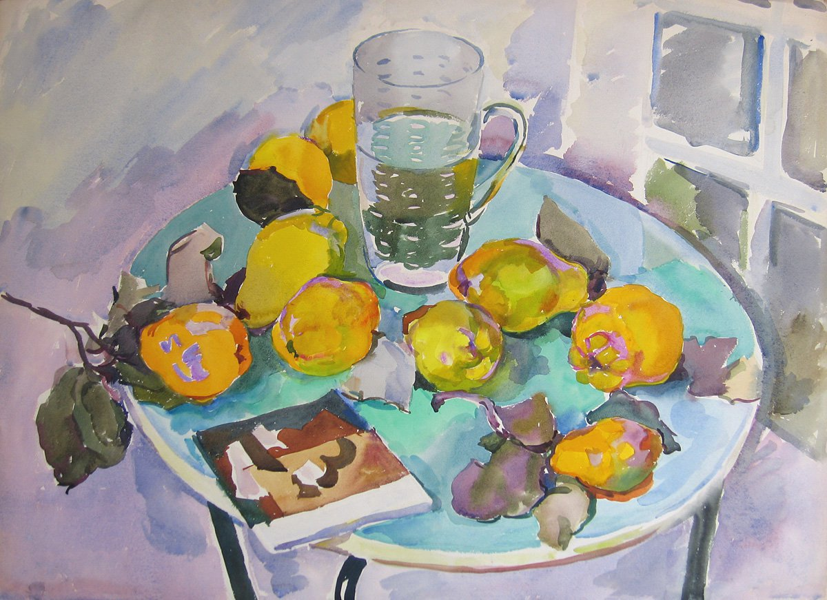 Evgenia Antipova (1917-2009). Quince on the Green Table.