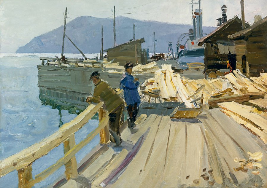 Anatoli Vasiliev (1917-1994). Baykal Boat Station. At the pier.