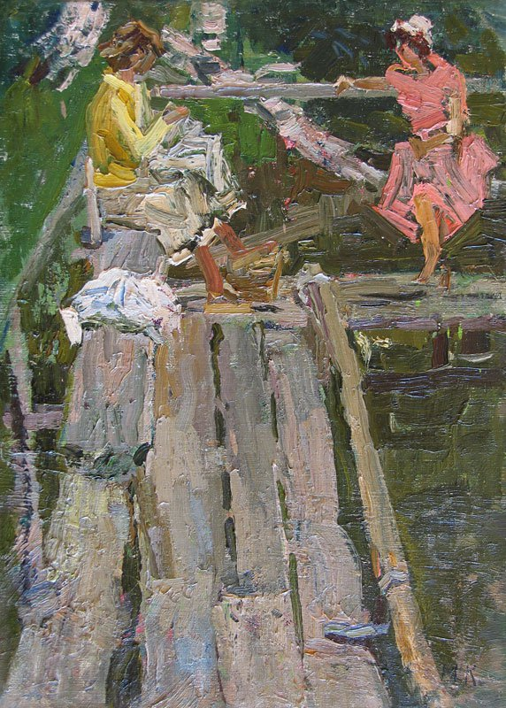 Maya Kopitseva (1924-2005). At the bathing pool.