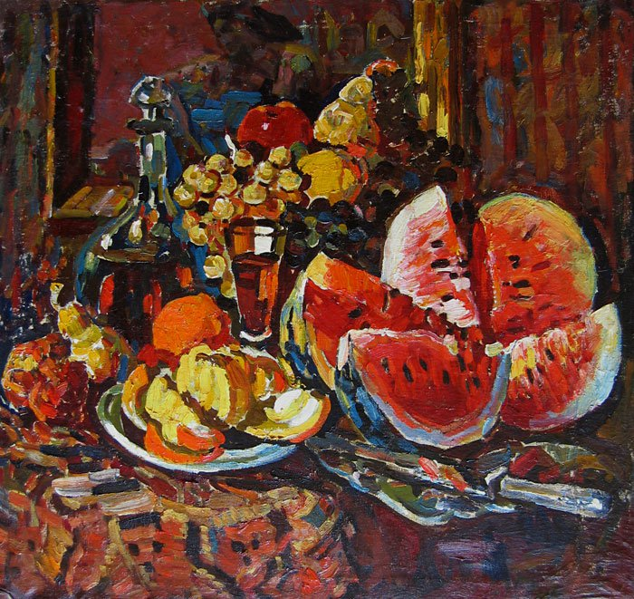 Piotr Alberti (1913-1994). Still life with water-melon.