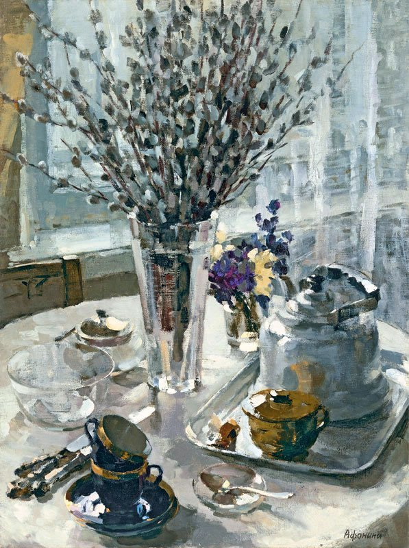 Taisia Afonina (1913-1994). Still life with Pussy-Willows