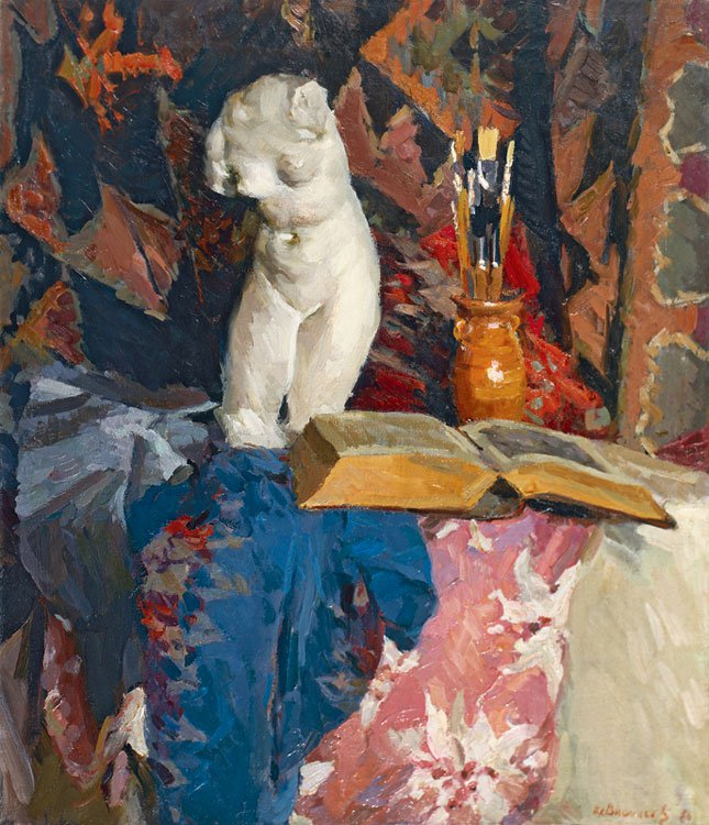 Piotr Vasiliev (1908-1989). Still-life with a book.