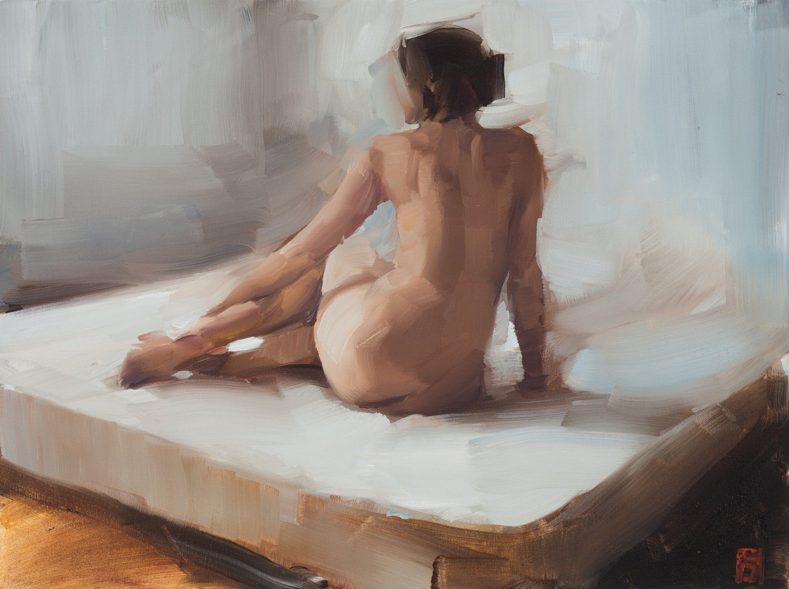 Nude on white Bed - Sasha Hartslief